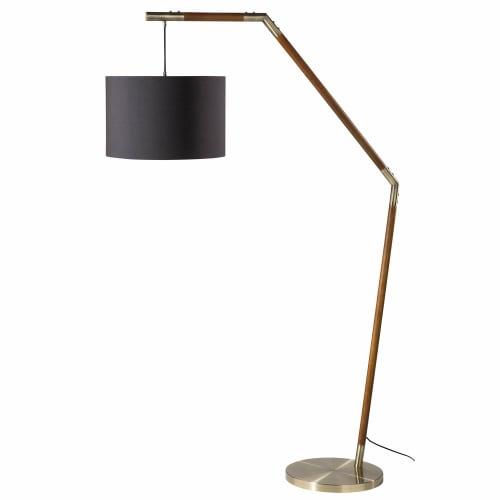 Stehlampe aus Eschenholz mit schwarzem Lampenschirm H175 | Maisons du Monde
