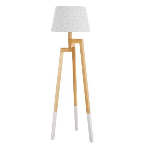 Stehlampe aus Kautschukholz und Lampenschirm mit Sternen Motiv | Maisons du Monde