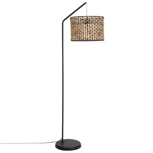 Stehlampe aus schwarzem Metall und Pflanzenfaser H162 | Maisons du Monde