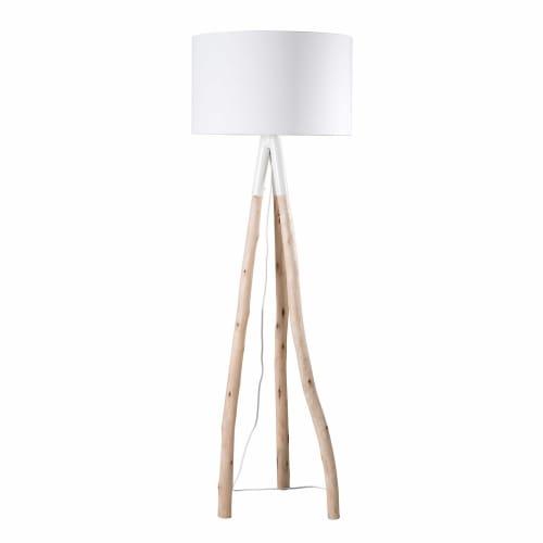 Stehlampe Eukalyptuszweig mit weißem Lampenschirm H. 152 | Maisons du Monde