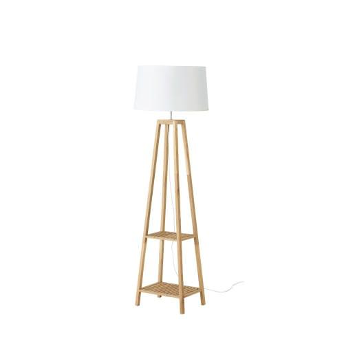 Stehlampe mit 2 Ablagen aus Eichenholz und weißem Lampenschirm H153