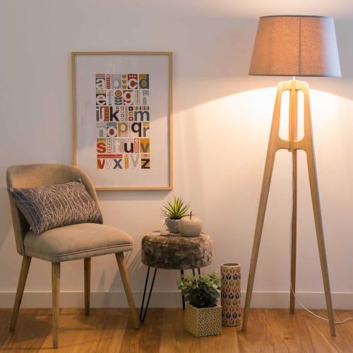 Stehlampe mit Dreifuß aus Eichen Holz und graues Lampenschirms H150 | Maisons du Monde