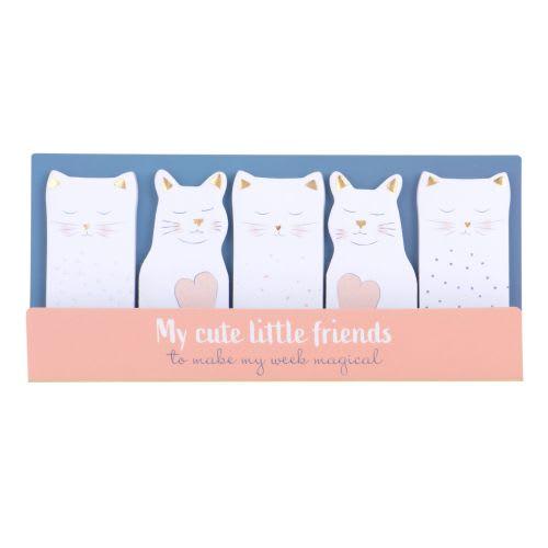 Stickers marque-pages chats blancs, roses et dorés (x5) Cat