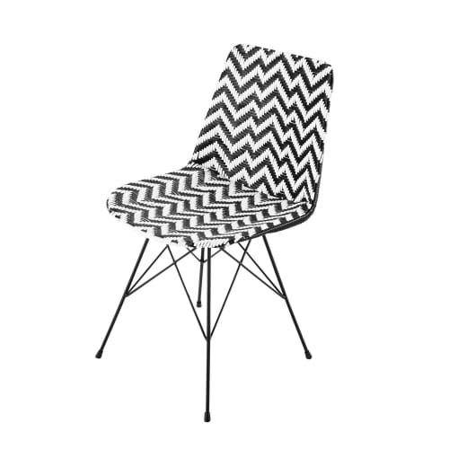 Stuhl Aus Harzgeflecht Und Metall Schwarz Weiss Zigzag Maisons