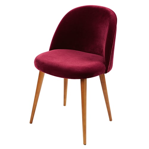 Stuhl im Vintage-Stil aus bordeauxrotem Samt und Birkenholz