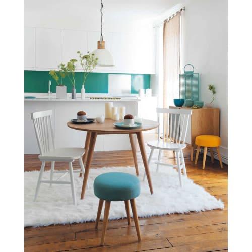 Stuhl im Vintage-Stil aus Kautschukbaum, weiß
