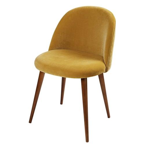 Stuhl Im Vintage Stil Aus Senfgelbem Samt Und Birkenholz