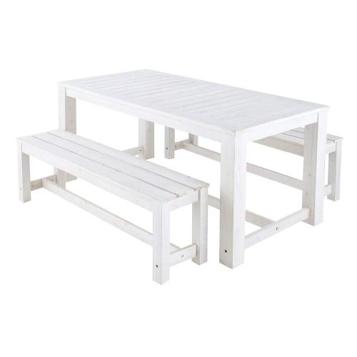 Table + 2 bancs de jardin en bois blanc L 180 cm | Maisons du Monde