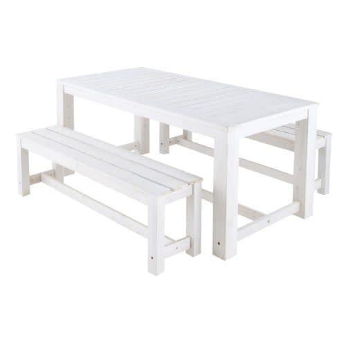 Table + 2 bancs de jardin en bois blanc L 180 cm