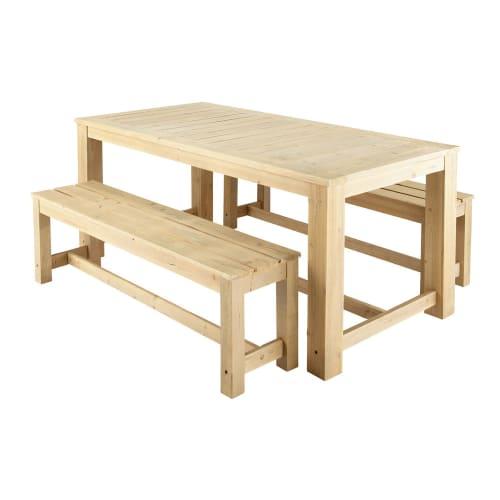 Table + 2 bancs de jardin en bois L 180 cm