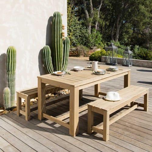 Table + 2 bancs de jardin en bois L 180 cm | Maisons du Monde