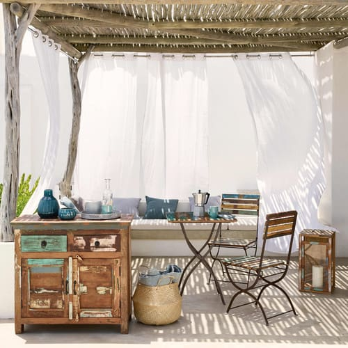 Table + 2 chaises de jardin en bois recyclé et métal effet vieilli L 60 cm