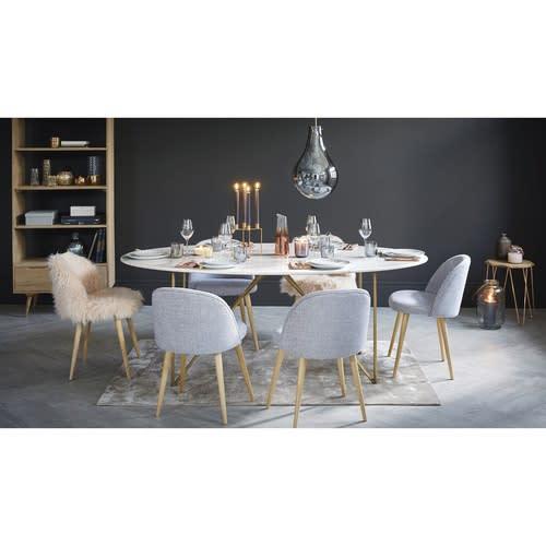 Table à manger 4/6 personnes en marbre blanc et fer doré L200