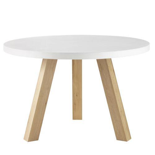 Table à manger 5/6 personnes en béton blanc et chêne D120