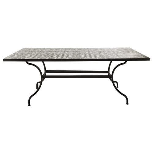 Table à manger en métal et carreaux de ciment 6/8 personnes L200