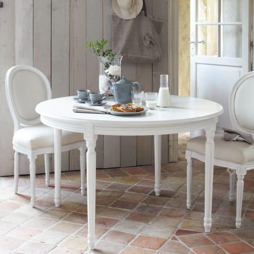 Table à manger ronde extensible blanche 4 à 8 personnes L120/200