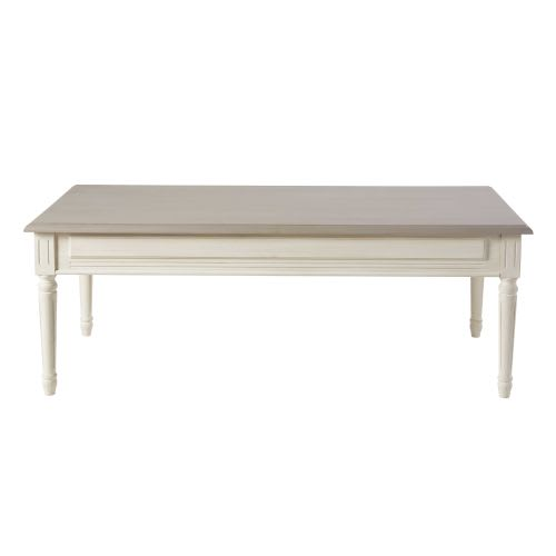 Table Basse 2 Tiroirs Ivoire Et Taupe