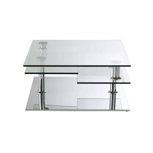 Table Basse 4 Plateaux En Acier Et Verre Maisons Du Monde