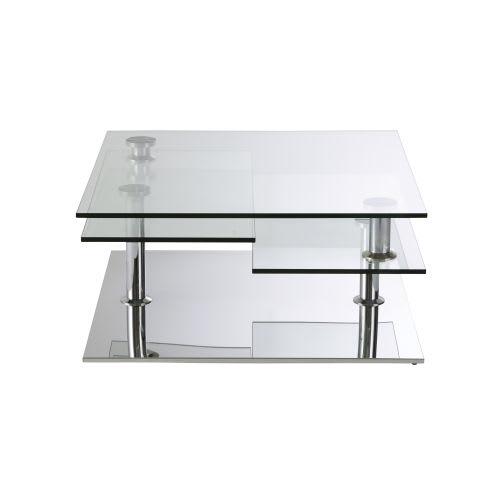 Table Basse 4 Plateaux En Acier Et Verre