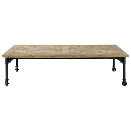 Table Basse A Roulettes En Pin Et Metal L160 Maisons Du Monde