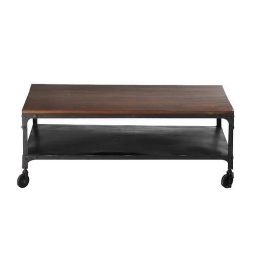 Table Basse A Roulettes En Sheesham Massif Et Metal L110