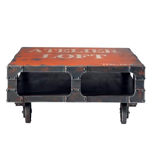 Table Basse à Roulettes Rouge L 90 Cm
