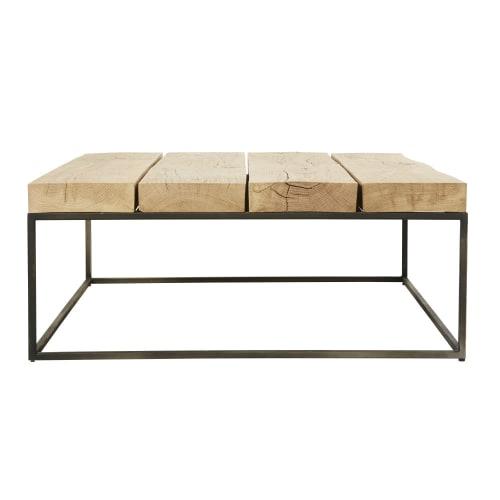 Table basse carrée en chêne massif et métal noir