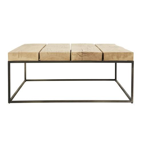 nouveau produit 8677b 9c55e Table basse carrée en chêne massif et métal noir