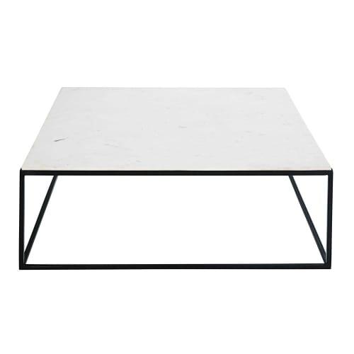 blanc en noir et carrée marbre basse métal Table kXn8wP0O