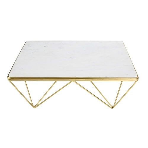 Table Basse Carree En Marbre Et Metal Dore Gatsby Maisons Du Monde