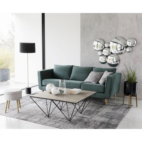 table basse carr e en pin recycl et m tal diamond. Black Bedroom Furniture Sets. Home Design Ideas