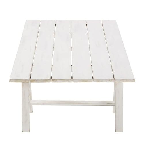 Table basse de acacia jardin en massif blanc BrdCoeWx