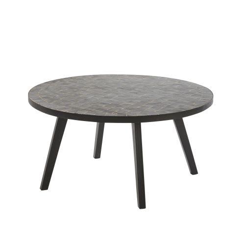 Table basse de jardin en mosaïque noire