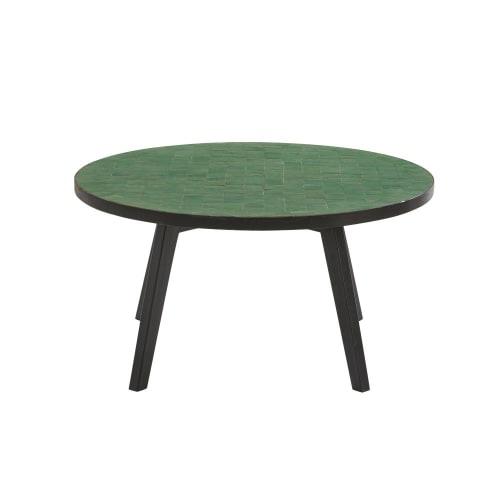Table De Jardin Mosaique.Table Basse De Jardin En Mosaique Verte Maisons Du Monde