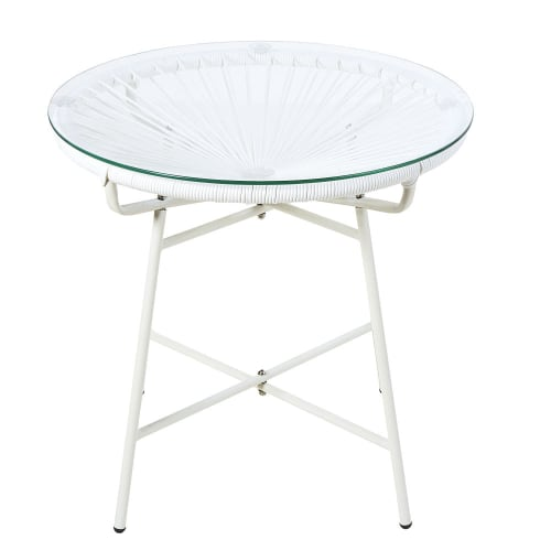 Table basse de jardin en résine blanche et verre | Maisons du Monde