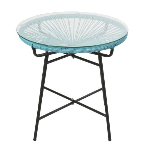 Table basse de jardin en résine bleue et verre