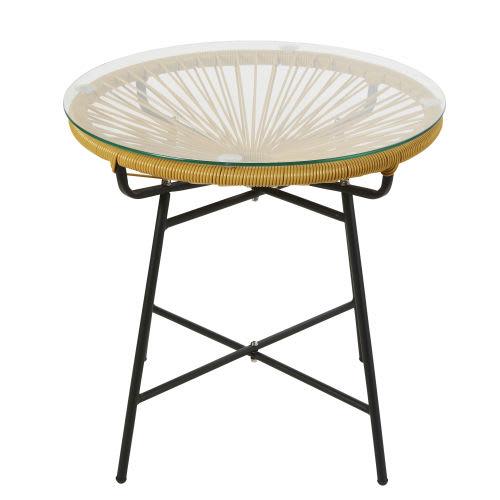 Table Basse De Jardin En Résine Jaune Moutarde Et Verre
