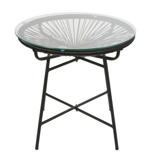 Table basse de jardin en résine noire et verre