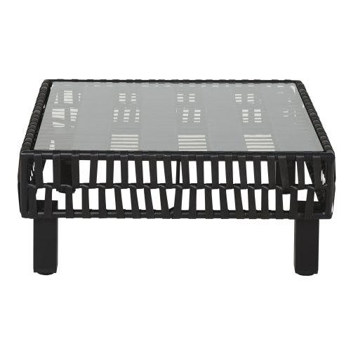 Table basse de jardin en résine tressée noire et verre