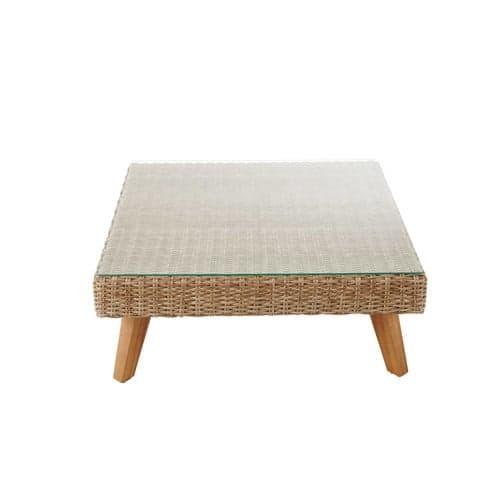 Table basse de jardin en verre trempé et résine tressée L 80 cm