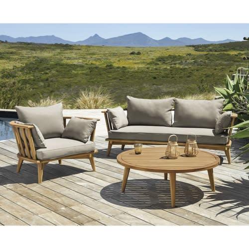 Table basse de jardin ronde en acacia massif