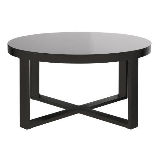 Table basse de jardin ronde en aluminium et verre trempé noir
