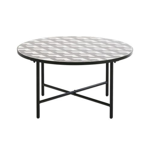 Table basse de jardin ronde en céramique grise et blanche | Maisons du Monde