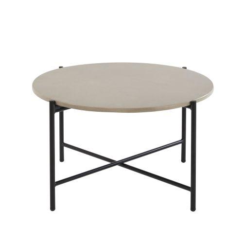 Table basse de jardin ronde en ciment et métal noir