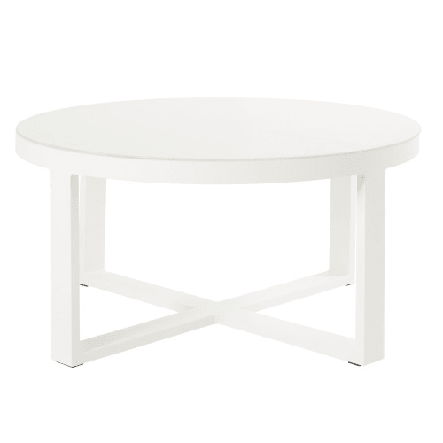 Table Basse Metal Blanc.Table Basse De Jardin Ronde En Metal Blanc Et Verre Maisons Du Monde
