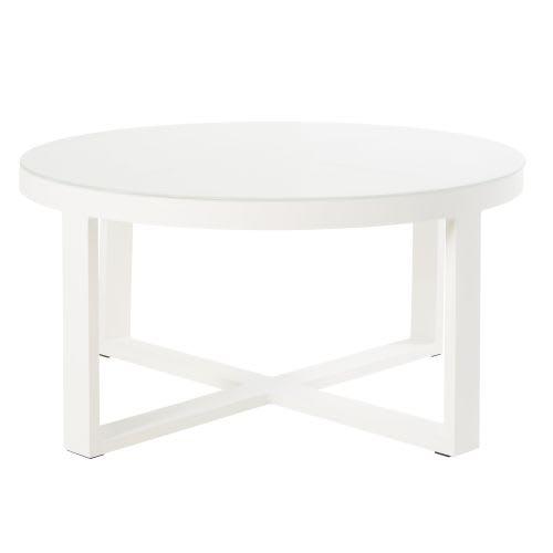 Table basse de jardin ronde en métal blanc et verre