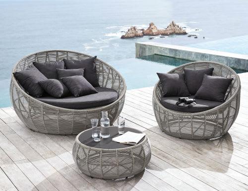 Table basse de jardin ronde en résine tressée et verre gris