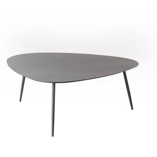 Table basse de jardin vintage en métal gris anthracite