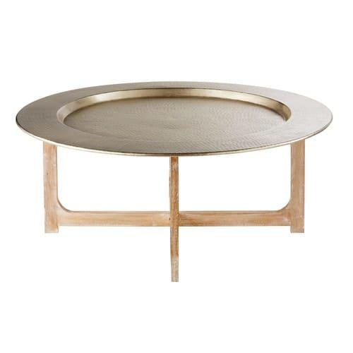 Table Basse En Aluminium Martelé Et Manguier Massif