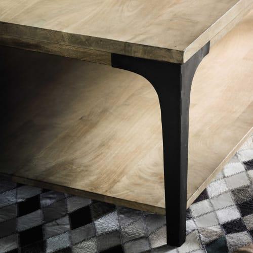 Table basse en manguier massif et métal Metropolis | Maisons